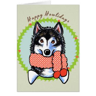 Cartão Malamute do Alasca Howlidays feliz