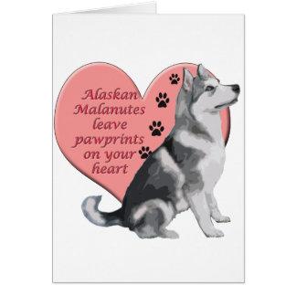 Cartão Malamute do Alasca Pawprints