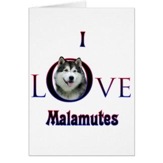 Cartão Malamute que do Alasca eu amo