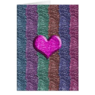 Cartão Malha colorida do metal do coração
