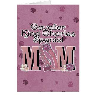 Cartão MAMÃ descuidado do Spaniel de rei Charles