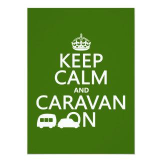 Cartão Mantenha a calma e a caravana em (as cores