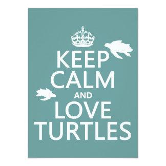 Cartão Mantenha a calma e ame tartarugas