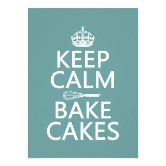 Cartão Mantenha a calma e coza bolos