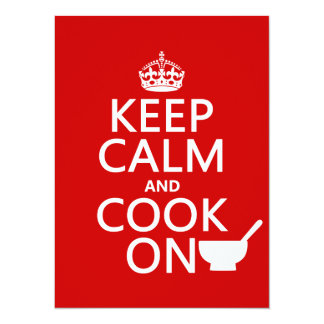 Cartão Mantenha a calma e cozinhe-a sobre