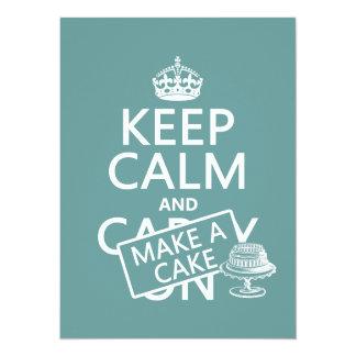 Cartão Mantenha a calma e faça um bolo