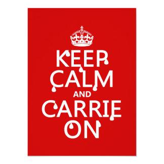 Cartão Mantenha a calma e o Carrie sobre - sangue - todas