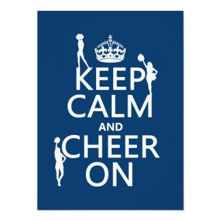 Cartão Mantenha a calma e o elogio em (cheerleaderes)