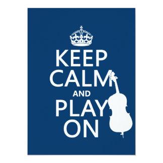 Cartão Mantenha a calma e o jogo em (o contrabaixo)