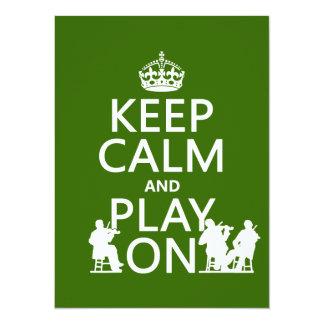 Cartão Mantenha a calma e o jogo em (os instrumentos