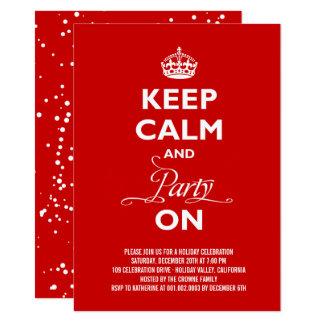 Cartão Mantenha a calma e o partido na festa natalícia