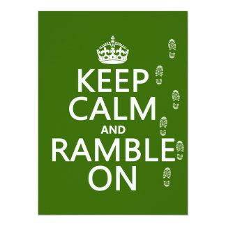 Cartão Mantenha a calma e Ramble sobre