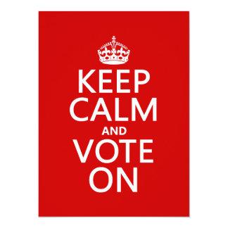 Cartão Mantenha a calma e vote sobre