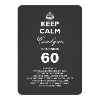Cartão Mantenha a festa de aniversário engraçada calma do