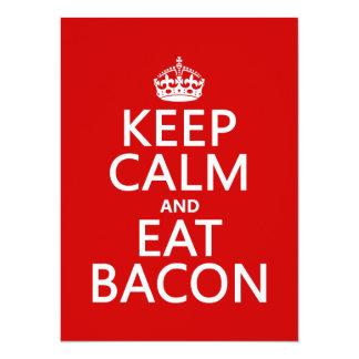Cartão Mantenha calmo e coma o bacon