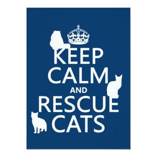 Cartão Mantenha os gatos calmos e do salvamento (em
