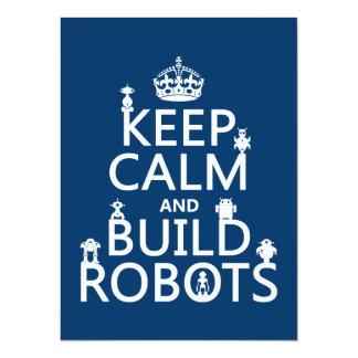 Cartão Mantenha os robôs calmos e da construção (em