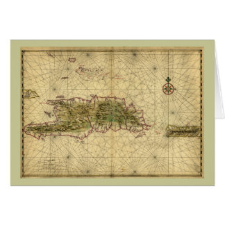 Cartão Mapa 1639 histórico de Hispaniola - Joana