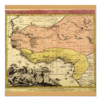 Cartão Mapa velho de África ocidental cerca de 1743