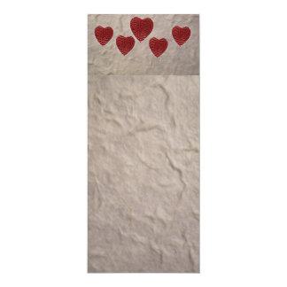 Cartão Marcador do coração do amor
