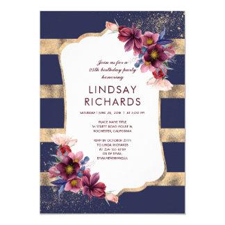 Cartão Marinho Borgonha e festa de aniversário floral do