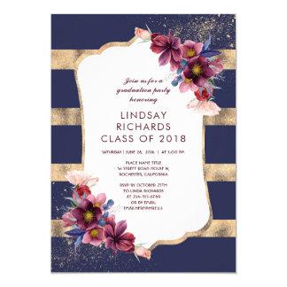 Cartão Marinho Borgonha e festa de formatura floral do