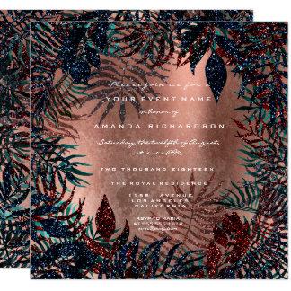 Cartão Marinho de cobre quadro da cerceta da samambaia
