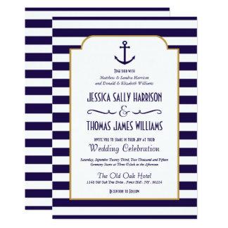 Cartão Marinho náutico & casamento branco da âncora da