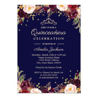 Cartão Marinho Quinceanera floral elegante de Borgonha