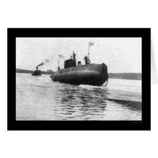 Cartão Marinho submarino 1909 do lançamento