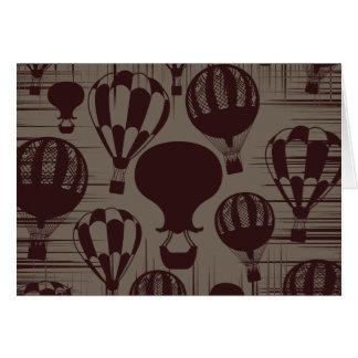 Cartão Marrom de Brown do Grunge dos balões de ar quente