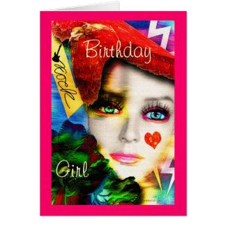 Cartão Menina do aniversário do rock and roll