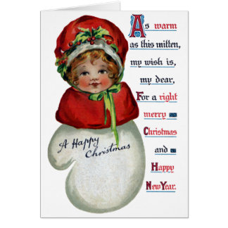Cartão Menina no natal vintage do mitene