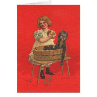 Cartão Menina que limpa Krampus