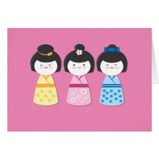 Cartão Meninas de Kokeshi