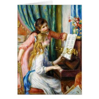 Cartão Meninas na pintura de Pierre Auguste Renoir do