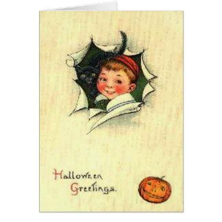 Cartão Menino do gato preto da abóbora da lanterna de