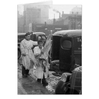 Cartão Meninos de loja do carniceiro, 1938