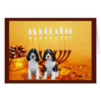 Cartão Menorah de Chanukah do Spaniel de Springer