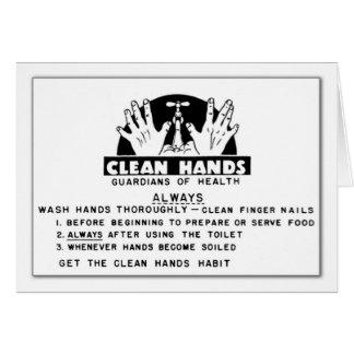 Cartão Mensagem limpa das mãos (vazio para dentro)