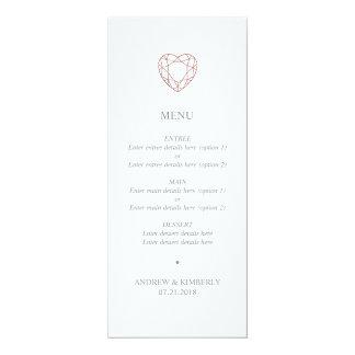 Cartão Menu cor-de-rosa simples do casamento do coração