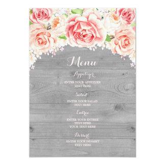 Cartão Menu de madeira cinzento floral do casamento da