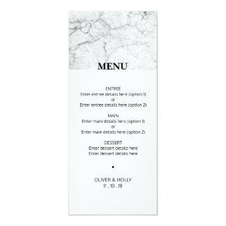 Cartão Menu de mármore moderno do casamento