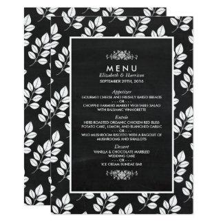 Cartão Menu do casamento da folha floral do quadro