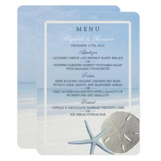 Cartão Menu do dólar de areia e do casamento de praia da