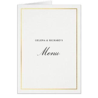 Cartão Menu elegante dobrado do casamento do ouro
