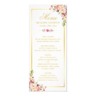 Cartão Menu floral cor-de-rosa chique elegante do