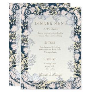 Cartão Menu floral do casamento da flor rústica do