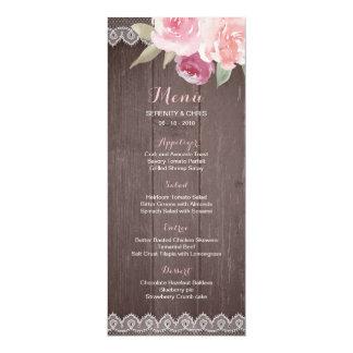 Cartão Menu floral do casamento do laço da aguarela