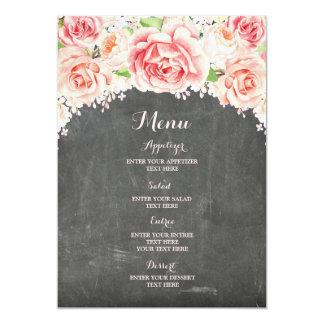 Cartão Menu floral do casamento do quadro da aguarela